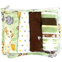 Trend Lab Gift Set - Chibi Zoo Zipper Pouch And 4 Burp Cloths