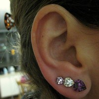 Ear Sweep Wrap - Earring with Swarovsky - Heart - Lilac - White - Pink