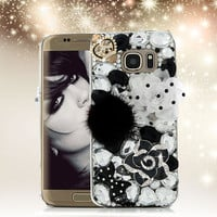 Luxury 3D Rhinestone Case for Samsung Galaxy S7 Edge Bling Diamond Crystal Hard Plastic Protective Cover for Samsung S7edge