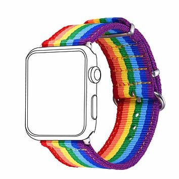 Fabric Watch Strap Watchband For Applewatch Series 1/2 38MM/42MM Men/Women LGBT Rainbow Colorful Watch Band APB2295