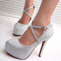 Lace sequins waterproof wedding shoes