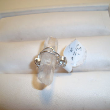 Handmade Quartz Point and Sterling Silver Ring in Size 7 - Natural Gemstone - Wire wrapped and Silver smith tecniques - Metal smith
