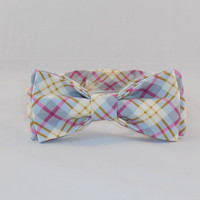 Men's Gray, Pink and Gold Plaid Adjustable Bowtie