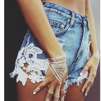 Denim Sexy Lace Patchwork Pants Shorts [9776054543]