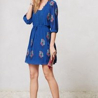 Cross-Stitched Peasant Dress by Meadow Rue Blue