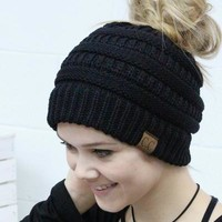 C.C. Beanie Solid Messy Bun (MORE COLORS)