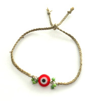 Simple light brown braided tiny green cluster red evil eye hamsa good luck kabbalah indie hipster coachella celebrity free people inspired