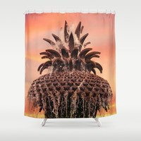 Pineapple Fountain Pink Shower Curtain by Legends Of Darkness Photography