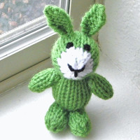 """Tiny Green Bunny Hand Knit Animal Doll - Newborn Photo Prop Easter Toy - Small Knit Baby Stuffed Animal Easter Bunny Rabbit Toy 4 3/4"""" Tall"""