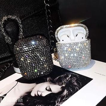 Suitable for airpods1/2 protective cover luxury fashion rhinestone wireless bluetooth headset case