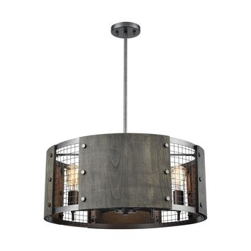 Halstead 6-Light Chandelier in Ash Gray and Dark Gray Wood with Wood and Wire Mesh Shade