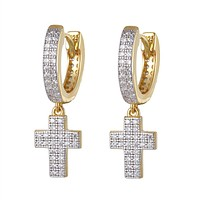 Gold Tone Holy Cross Micro Pave Dangling Silver Hoops