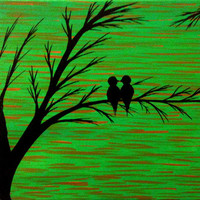 Love birds painting Acrylic painting canvas art Green background Birds silhouette Wall decor wall art Birds on a branch Christmas sale gift