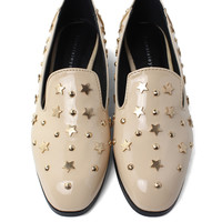 Studded Star Loafer Shoes in Ivory Beige EU37/US6/UK4