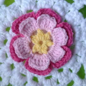 Hand Crochet Flower Applique Embellishment- Bubblegum Pink, Cotton Candy Pink, and Sunshine Yellow