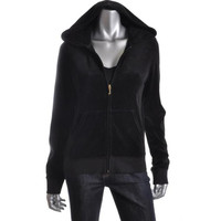 Juicy Couture Womens Juniors Velour Ribbed Zip-Front Hoodie