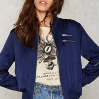 Nasty Gal Satin Lover Bomber Jacket