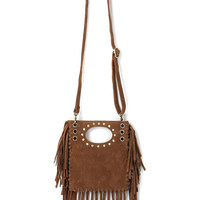 Brown Suedette Stud And Eyelet Detail Fringed Cross Body Bag