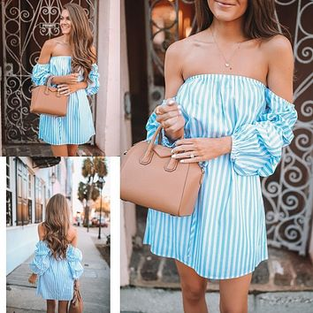 2020 women's new arrival sexy one-shoulder striped long sleeve waist dress