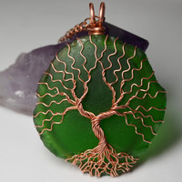 Recycled Glass Tree of Life Pendant Copper Set Green Beer Bottle Sea Glass Twisted Wire Metaphysical Tree Necklace Yggdrasil Celtic Tree