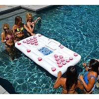 Water Party Fun Air Mattress Ice Bucket Cooler Cup Holder Inflatable Beer Pong Table Pool Float