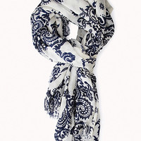 FOREVER 21 Waverly Print Scarf Beige/Navy One
