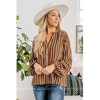 On The Road Again Striped Button Up Top