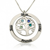 Sterling Silver Swarovski Personalized Mother Necklace, Family Tree Necklace, Engraved Names Birthstone, Gift for Mother