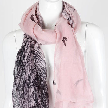 Bird and Tree Print Scarf