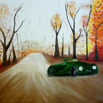 Original oil painting Large Living room wall decor Autumn leaves Fall colors Tree art Road less traveled Car lover The road not taken