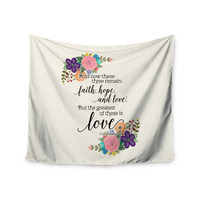 """Noonday Design""""Faith, Hope, And Love"""" Beige Multicolor Wall Tapestry"""