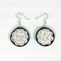 Small Paper Quilling Earrings Black and White- paper quilled earrings, paper quilling jewelry, paper jewelry, paper earrings, small earrings