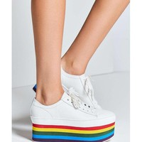 Jeffrey Campbell White with A Rainbow Platform Sneaker Sneakers Size US 8.5 Regular (M, B)