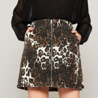 News Flash Skirt - Leopard