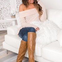 Corinne Off The Shoulder Top (Taupe)