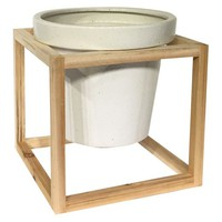 "Stoneware Planter with Wood Frame (8.25"") - Smith & Hawken™"
