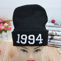 1994 Beanie Embroidered Autumn Warm Winter Womens & Mens Knitted Slouchy Head Chunky Baggy Black Cuffed Skully Hat