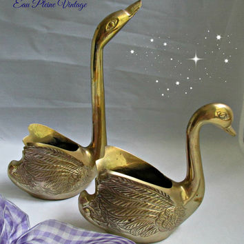 Mid Century Modern Brass Etched Swans Home Decor Planters Trinkets Vintage Pair Made in India