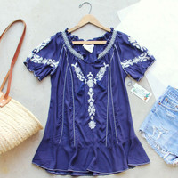 Harlow Embroidered Tunic in Navy