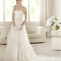 White A-line Strapless Sweetheart Applique Tulle 2013 Wedding Dress IWD0162 -Shop offer 2013 wedding dresses,prom dresses,party dresses for girls on sale. #Category#