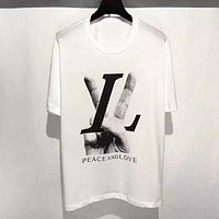 LV Louis Vuitton New Fashion Letter Hand Print Women Men Top T-Shirt White