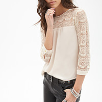 FOREVER 21 Semi-Sheer Lace-Paneled Top Taupe