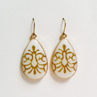 White Teardrop Earrings with Gold Arabesque, Large Ivory Earrings, White Resin Teardrop, Hypoallergenic, Resin Jewelry For Her