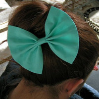 Big Spearmint Hair Bow for Teens and Women  by ClipaBowBoutique