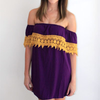 Game Day Purple and Gold Off the Shoulder Dress