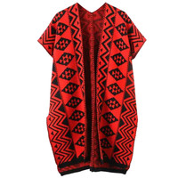 Red Geometric Print Knitted Cardigan