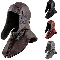 Army Motorcycle Helmet Hat Bomber Leather Aviator Trapper Cap Windproof Earflap Pilot Aviator Cycling Costume For Men