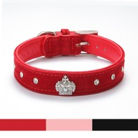 Rhinestones Crown Dog Collar