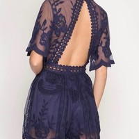 Girl Talk Open Back Lace Embroidered Romper in More Colors