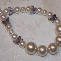 Butterfly Pearl Choker Necklace and Earring Set